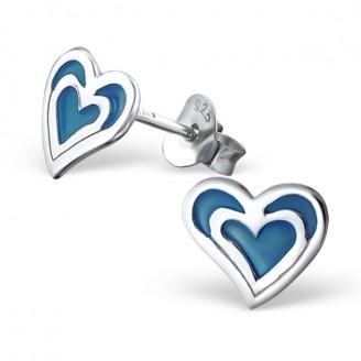 """Dětské stříbrné náušnice """"Srdíčka Baby-blue"""". Ag 925/1000"""